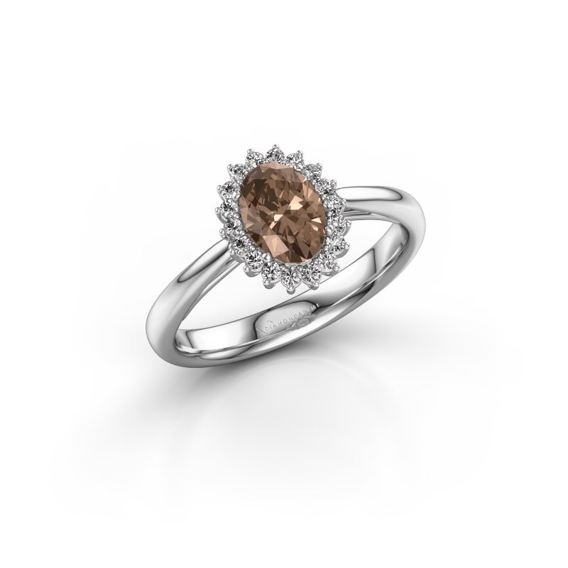 Engagement ring Tilly ovl 1 925 silver brown diamond 0.80 crt