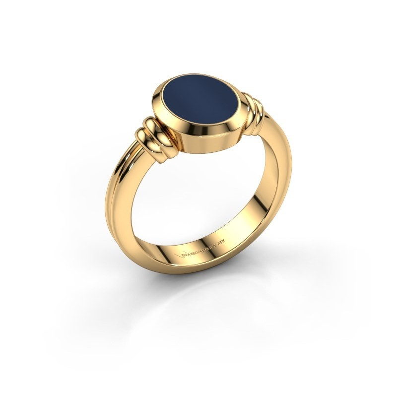 Pinkring Jake 1 585 goud donker blauw lagensteen 10x8 mm