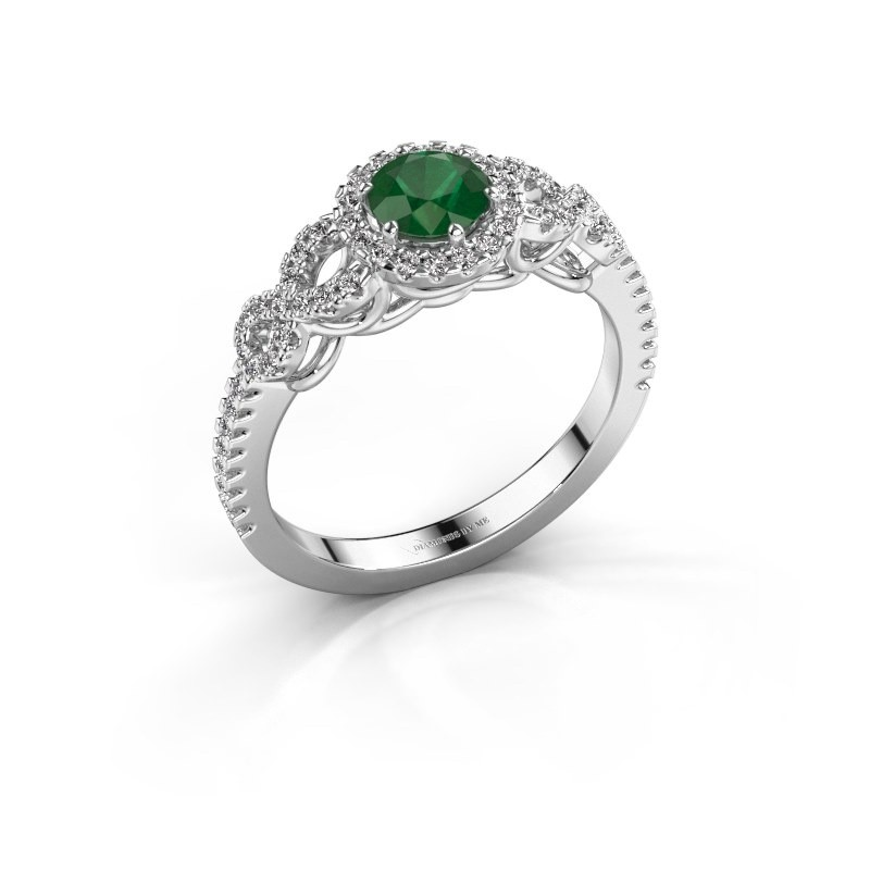 Engagement ring Sasja 950 platinum emerald 5 mm