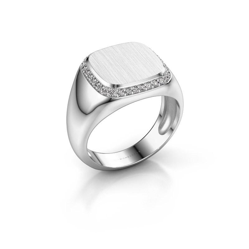 Heren ring Jesse 1 375 witgoud zirkonia 1.2 mm