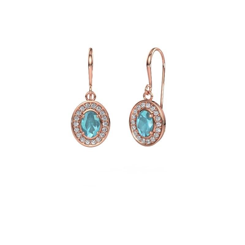 Drop earrings Layne 1 375 rose gold blue topaz 6.5x4.5 mm