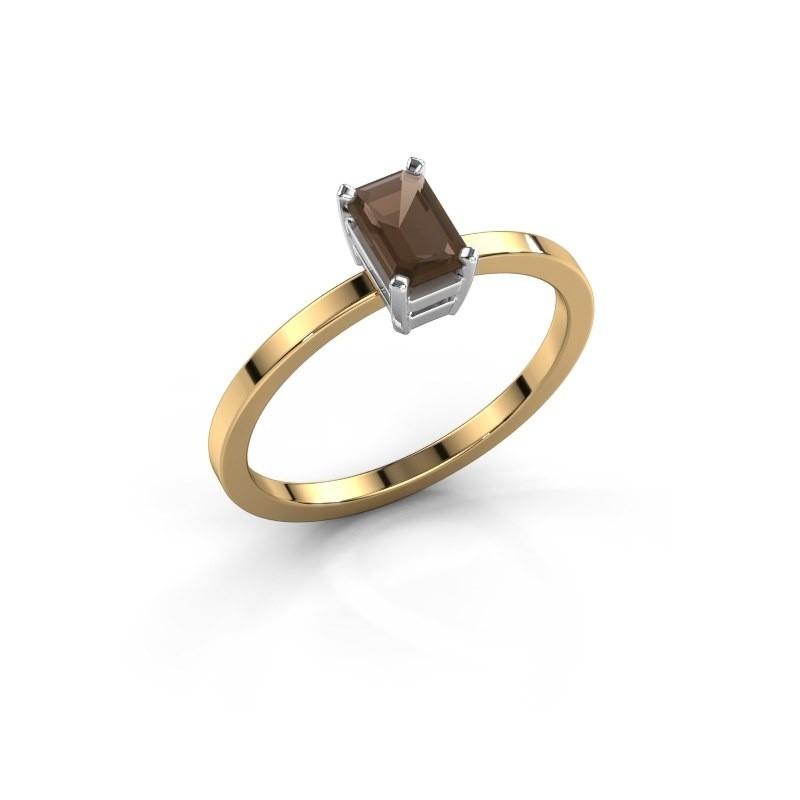 Verlovingsring Denita 1 585 goud rookkwarts 6x4 mm