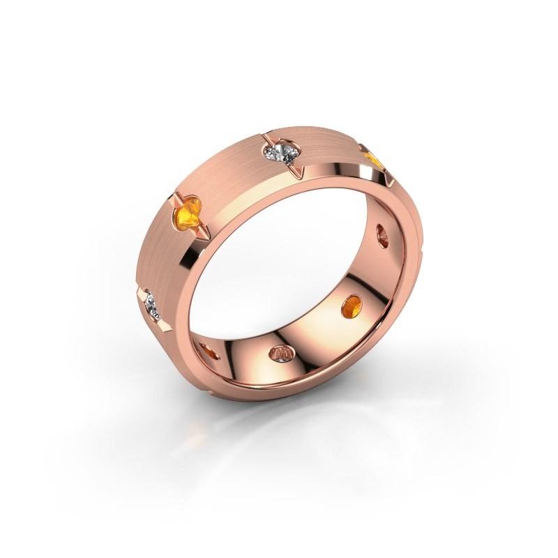 Herren ring Irwin 375 Roségold Citrin 2.7 mm
