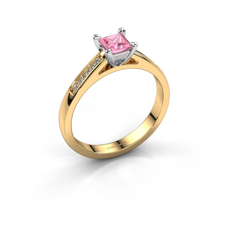 Engagement ring Nynke SQR 585 gold pink sapphire 4 mm