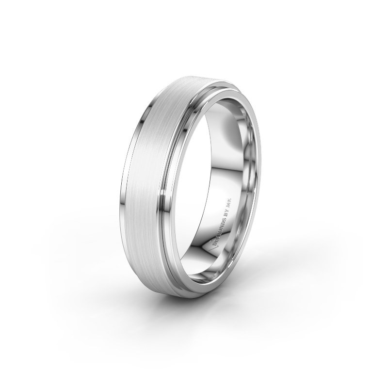 Trouwring WH2134M 585 witgoud ±6x2.2 mm