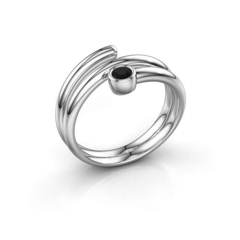 Ring Jenna 585 witgoud zwarte diamant 0.12 crt