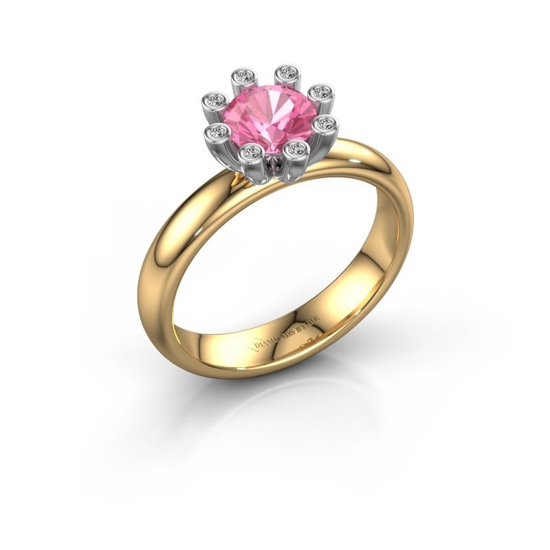 Stapelring Carola 3 585 goud roze saffier 6 mm