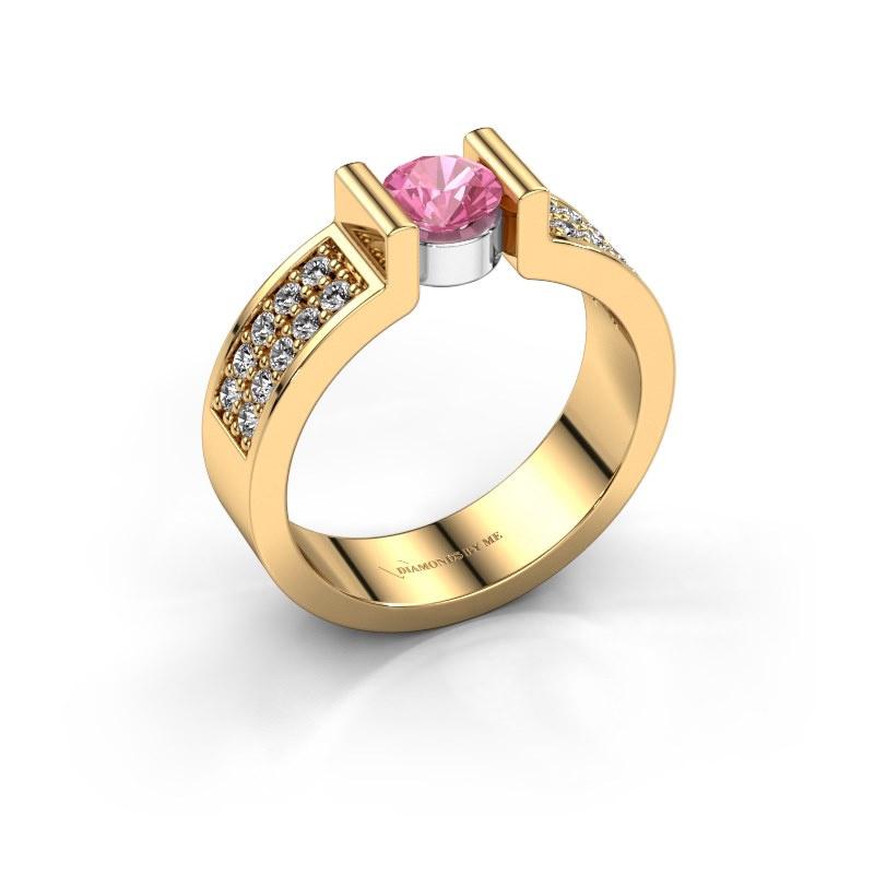 Verlovingsring Isabel 3 585 goud roze saffier 5 mm