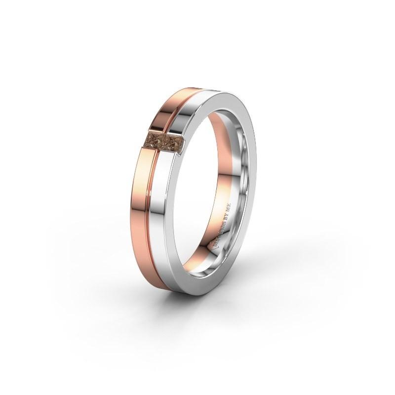 Trouwring WH0225L14B 585 rosé goud bruine diamant ±4x2 mm