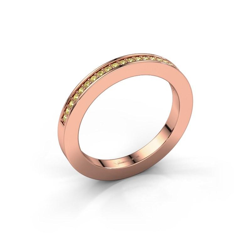 Aanschuifring Loes 2 585 rosé goud gele saffier 1.1 mm