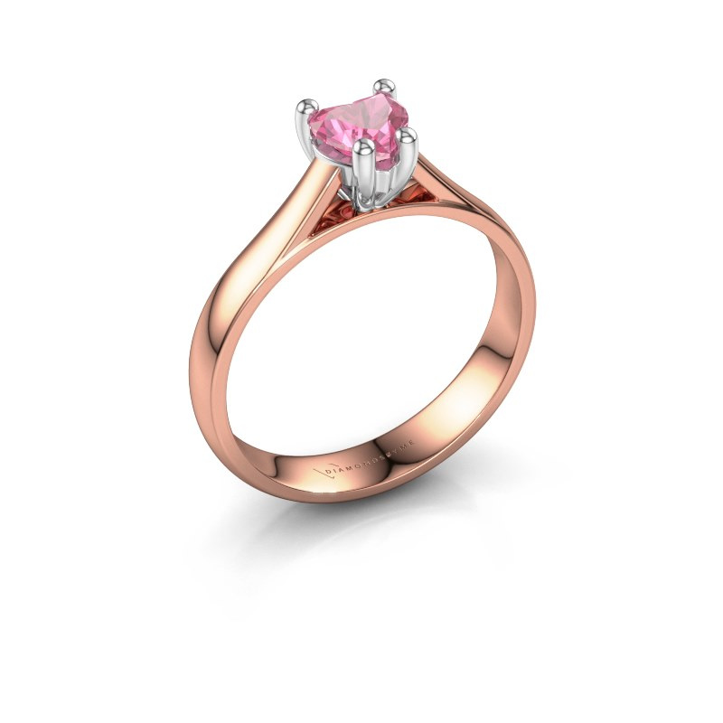 Engagement ring Sam Heart 585 rose gold pink sapphire 5 mm