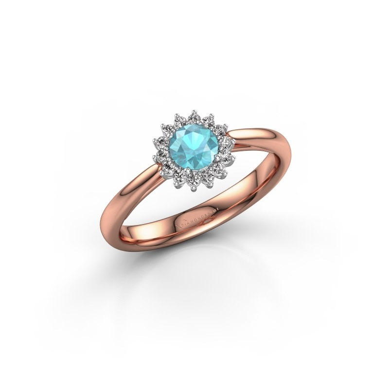 Verlovingsring Tilly RND 1 585 rosé goud blauw topaas 4.2 mm