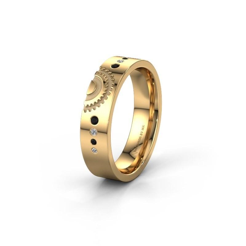 Trouwring WH2116L25A 585 goud zwarte diamant ±5x1.7 mm