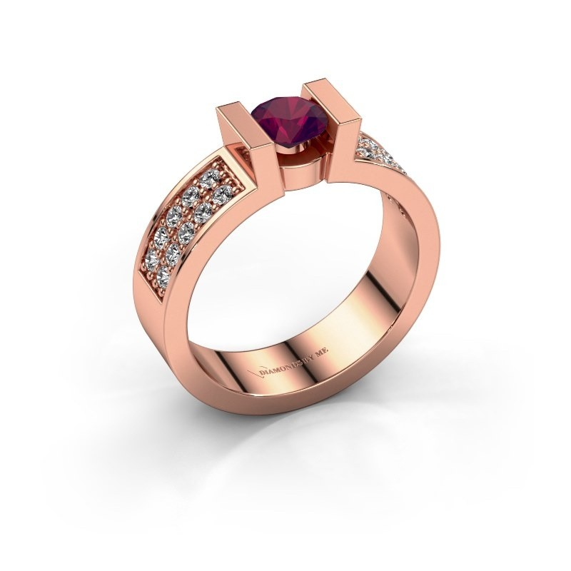 Verlovingsring Lieve 3 375 rosé goud rhodoliet 5 mm