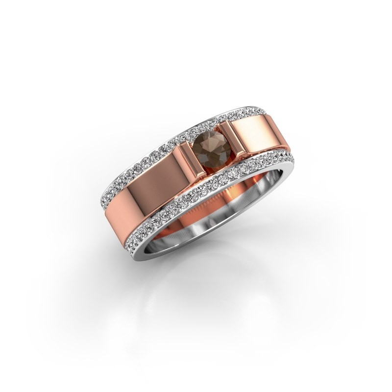 Men's ring Danillo 585 rose gold smokey quartz 4.2 mm
