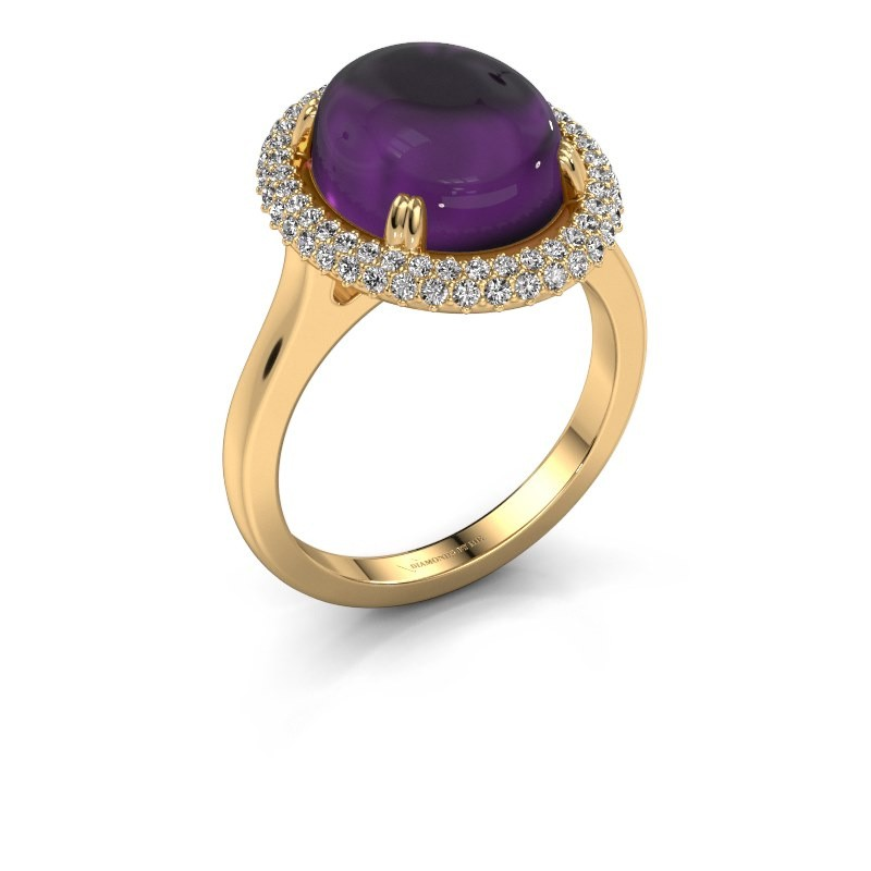 Ring Jayna 585 goud amethist 12x10 mm