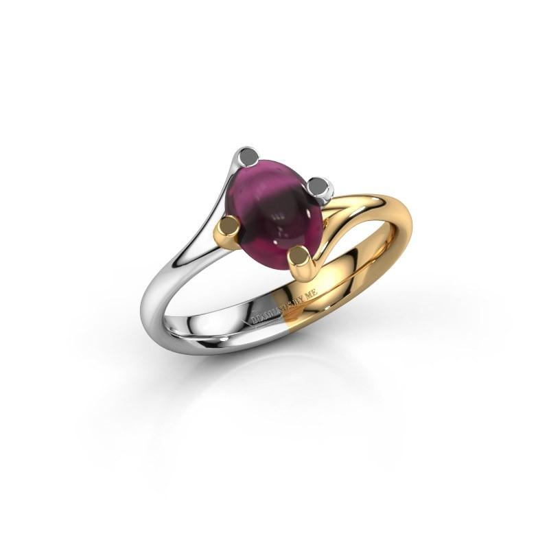 Ring Nora 585 witgoud rhodoliet 8x6 mm