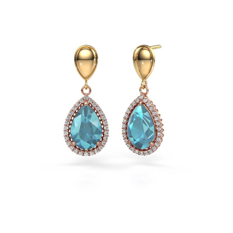 Drop earrings Tilly per 1 585 rose gold blue topaz 12x8 mm