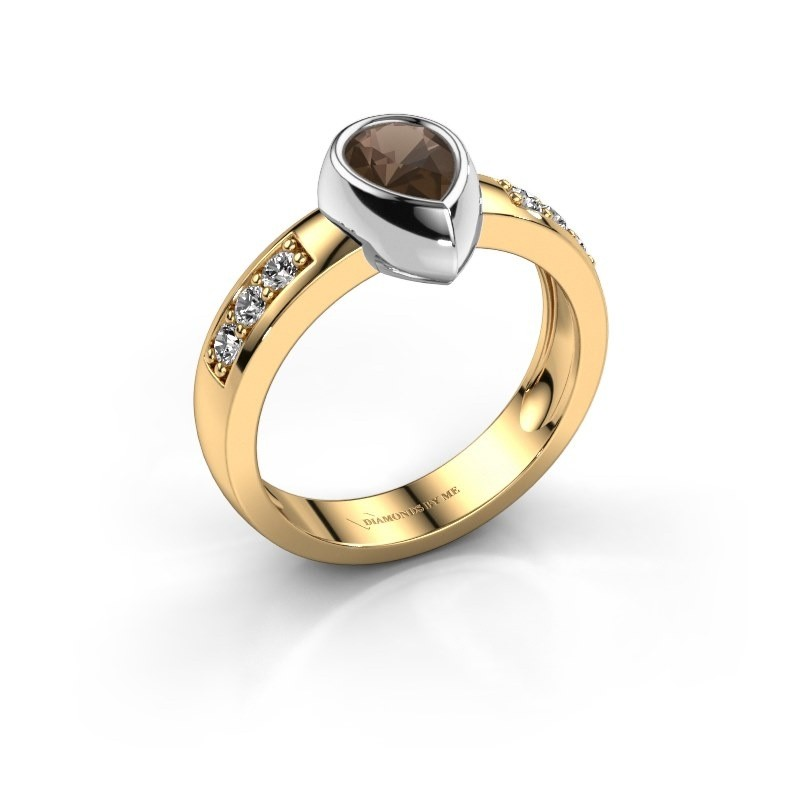 Ring Charlotte Pear 585 Gold Rauchquarz 8x5 mm