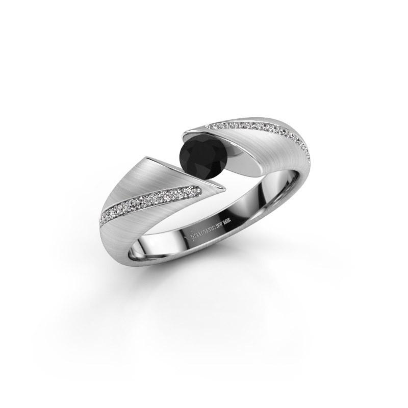 Verlovingsring Hojalien 2 950 platina zwarte diamant 0.48 crt