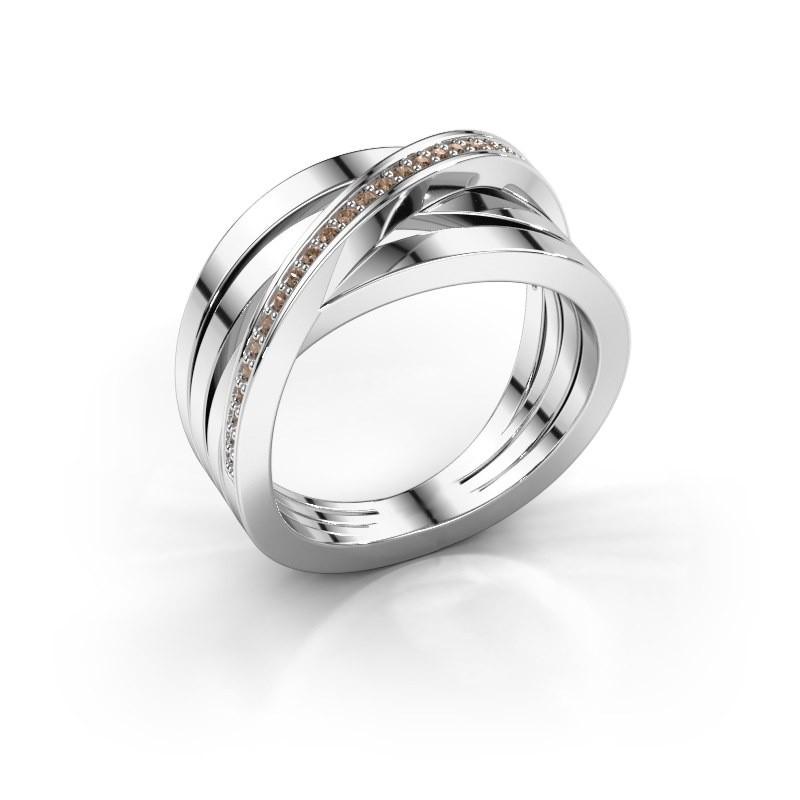 Ring Esmee 585 witgoud bruine diamant 0.145 crt