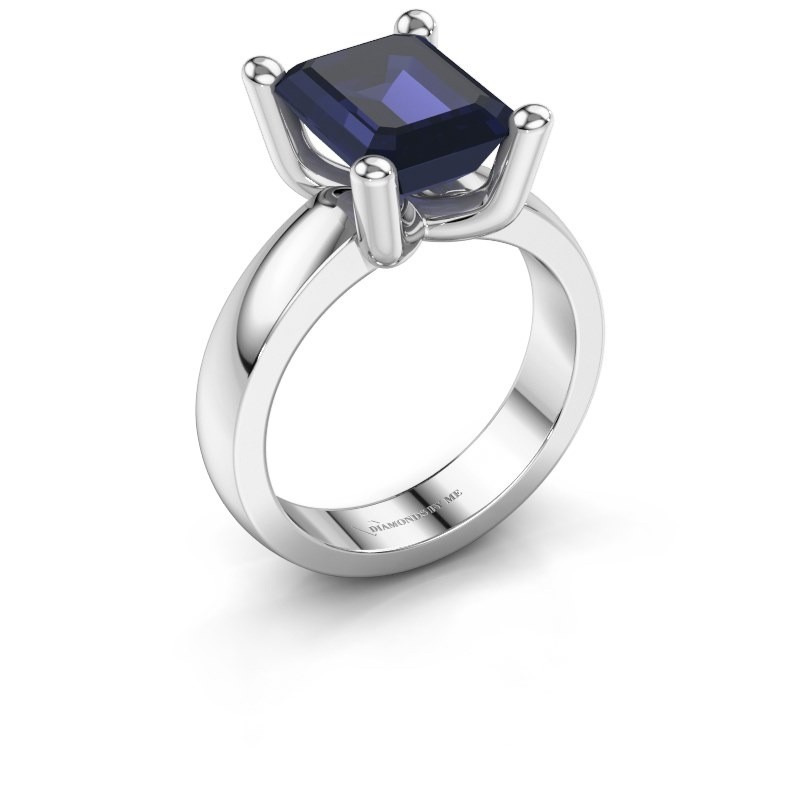 Ring Clelia EME 950 platina saffier 10x8 mm