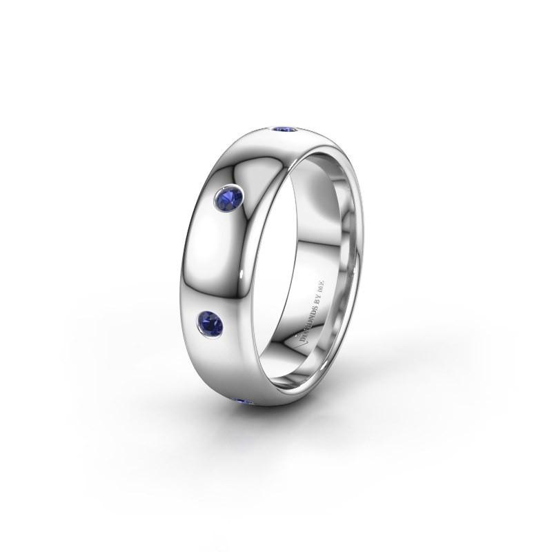 Wedding ring WH0105L36BP 925 silver sapphire ±6x2 mm