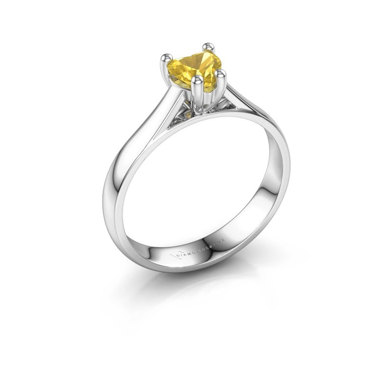 Engagement ring Sam Heart 925 silver yellow sapphire 5 mm