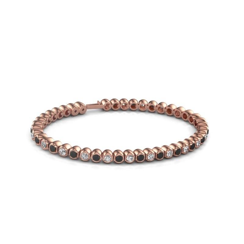 Tennisarmband Asley 375 rosé goud zwarte diamant 4.84 crt