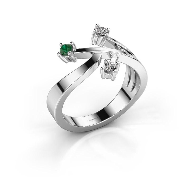 Ring Lillian 585 witgoud smaragd 2.5 mm