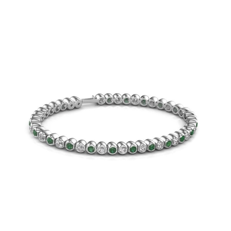 Tennisarmband Asley 585 witgoud smaragd 3 mm