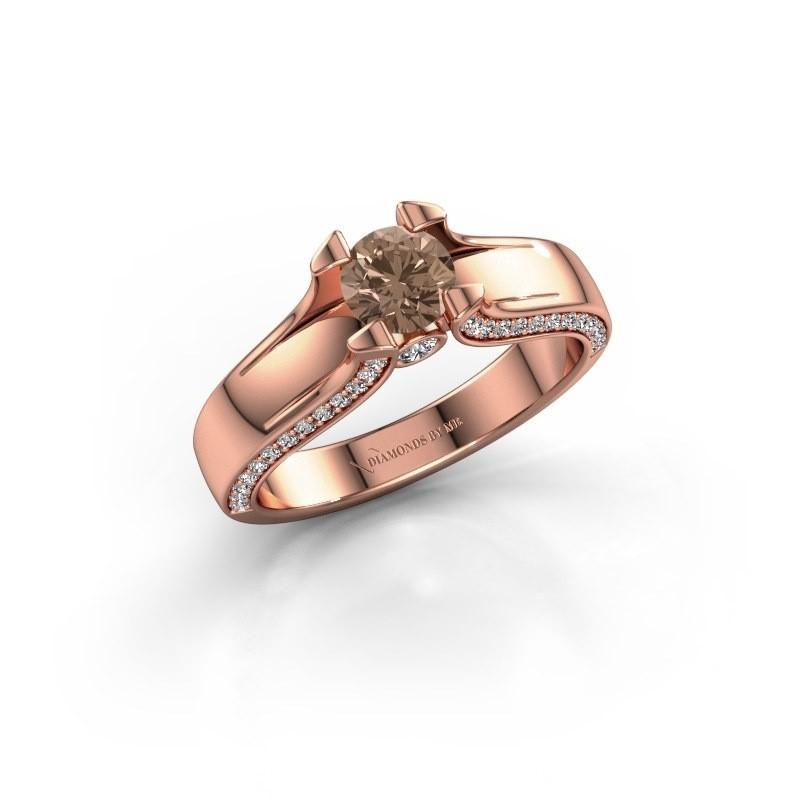 Bague de fiançailles Jeanne 1 375 or rose diamant brun 0.82 crt