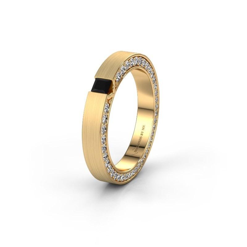Wedding ring WH2140L14B 375 gold black diamond ±3,5x2 mm