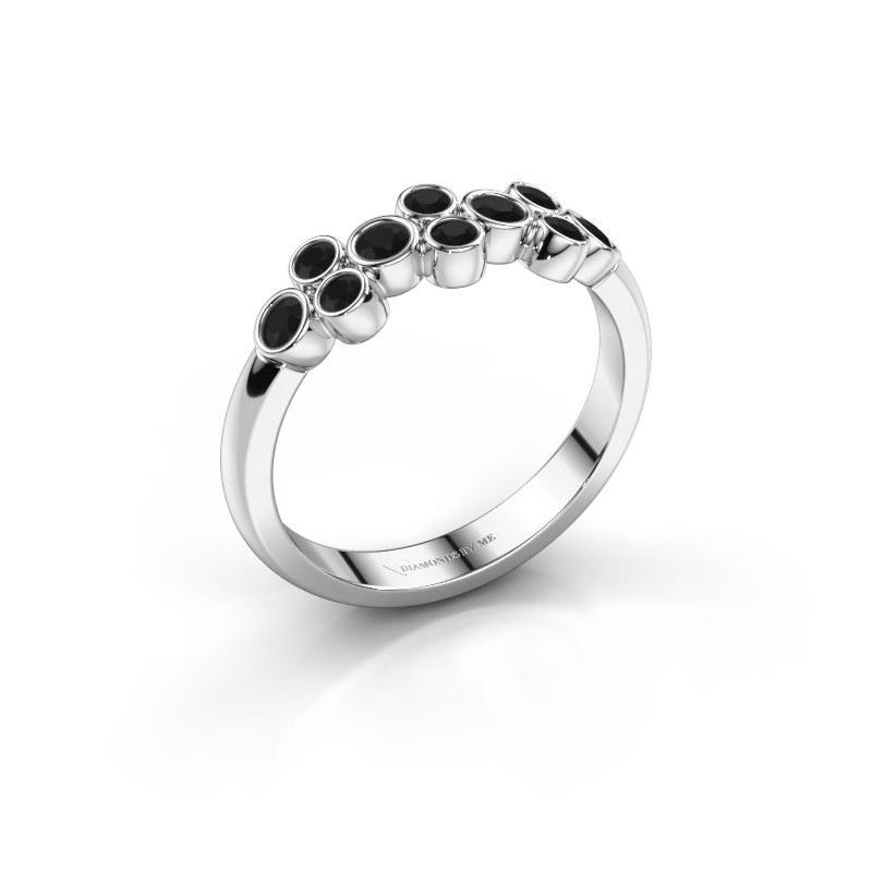 Bague Kayleigh 585 or blanc diamant noir 0.48 crt