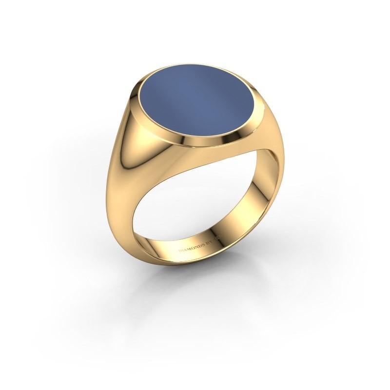 Zegelring Herman 5 585 goud blauw lagensteen 15x13 mm
