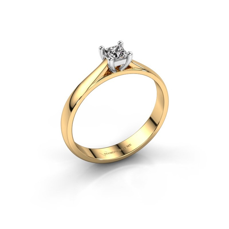 Engagement ring Sam Square 585 gold diamond 0.25 crt