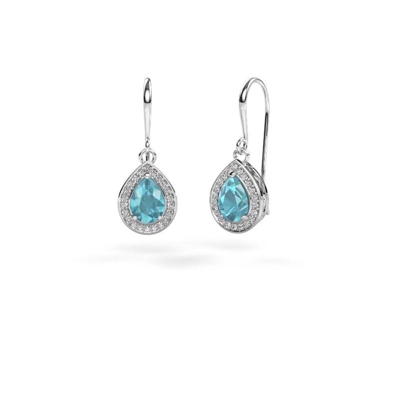 Drop earrings Beverlee 1 950 platinum blue topaz 7x5 mm