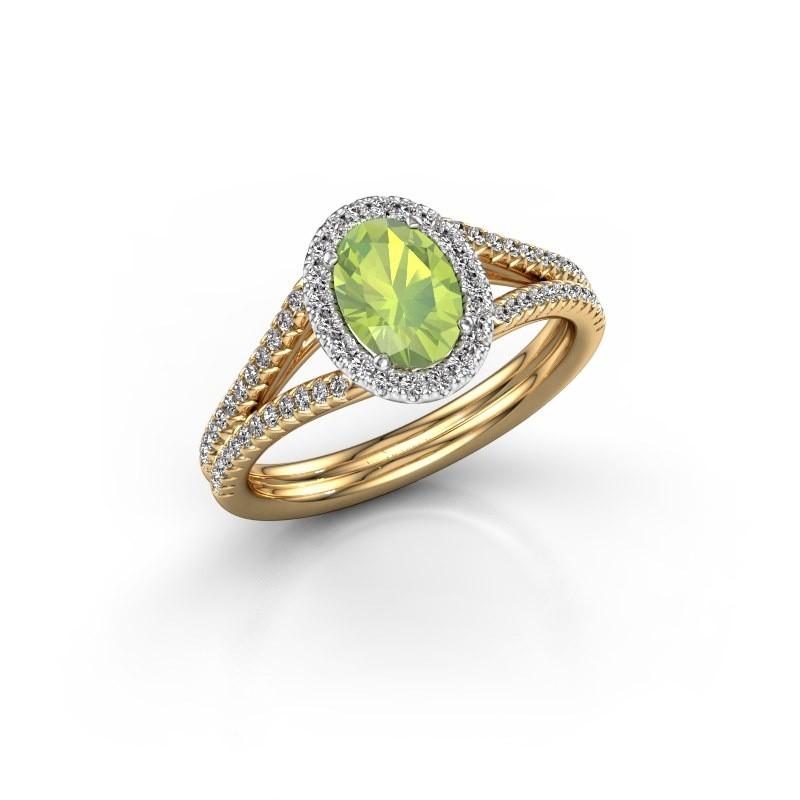 Engagement ring Rachele 2 585 gold peridot 7x5 mm
