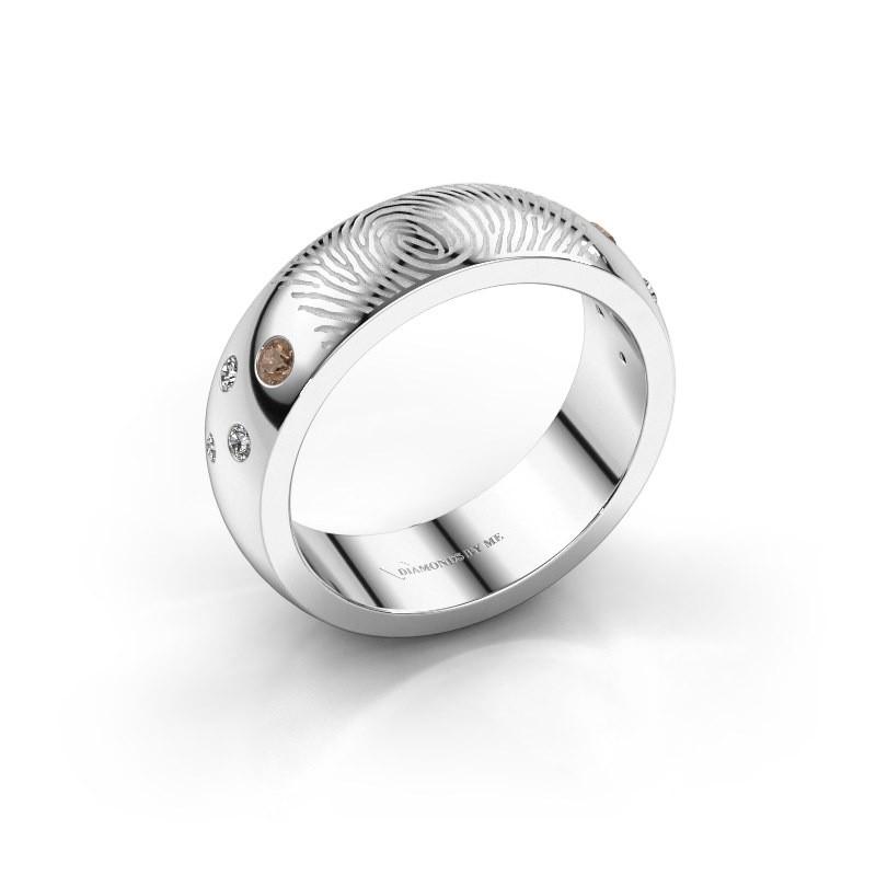 Ring Minke 375 witgoud bruine diamant 0.135 crt