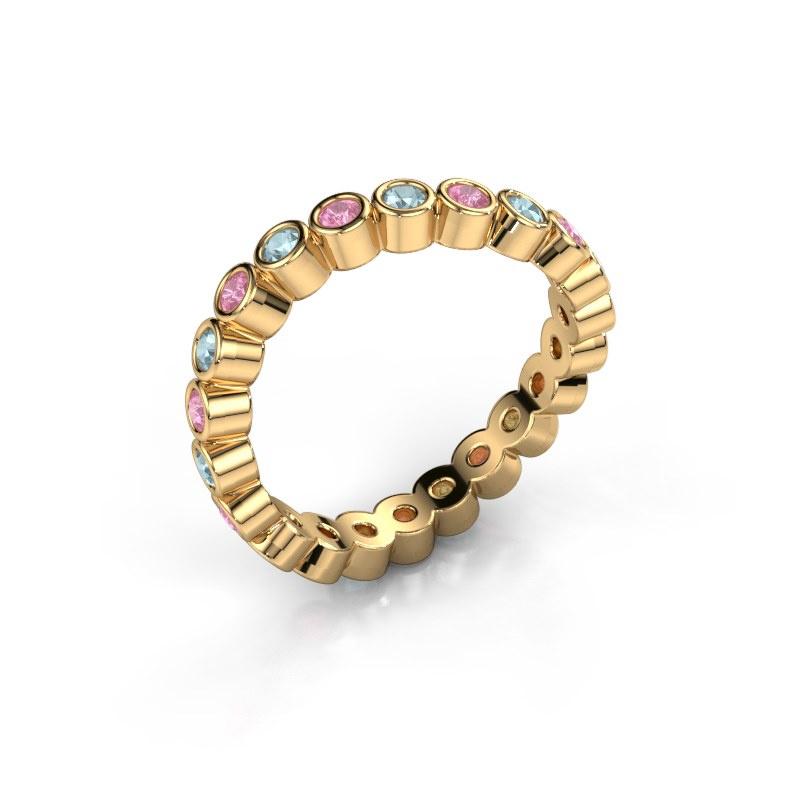 Ring Liz 585 goud roze saffier 2 mm