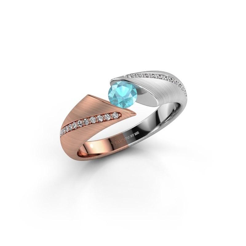 Engagement ring Hojalien 2 585 rose gold blue topaz 4.2 mm