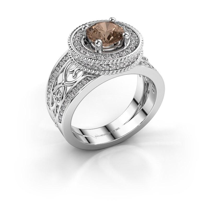 Ring Joy 585 witgoud bruine diamant 1.596 crt