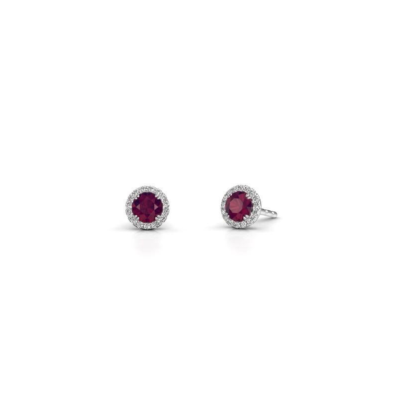 Earrings Seline rnd 925 silver rhodolite 4 mm