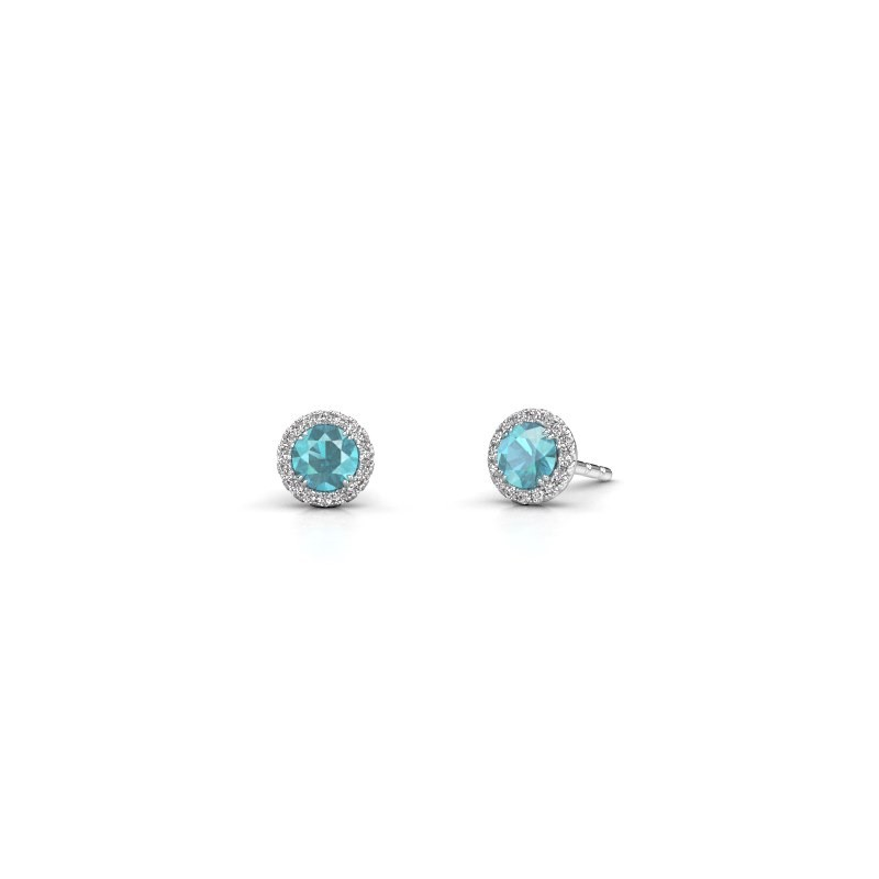 Earrings Seline rnd 925 silver blue topaz 4 mm