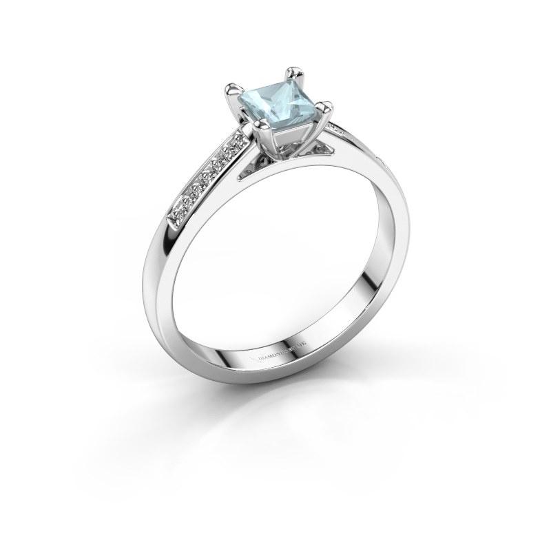 Engagement ring Nynke SQR 585 white gold aquamarine 4 mm