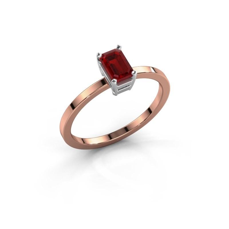 Verlovingsring Denita 1 585 rosé goud robijn 6x4 mm