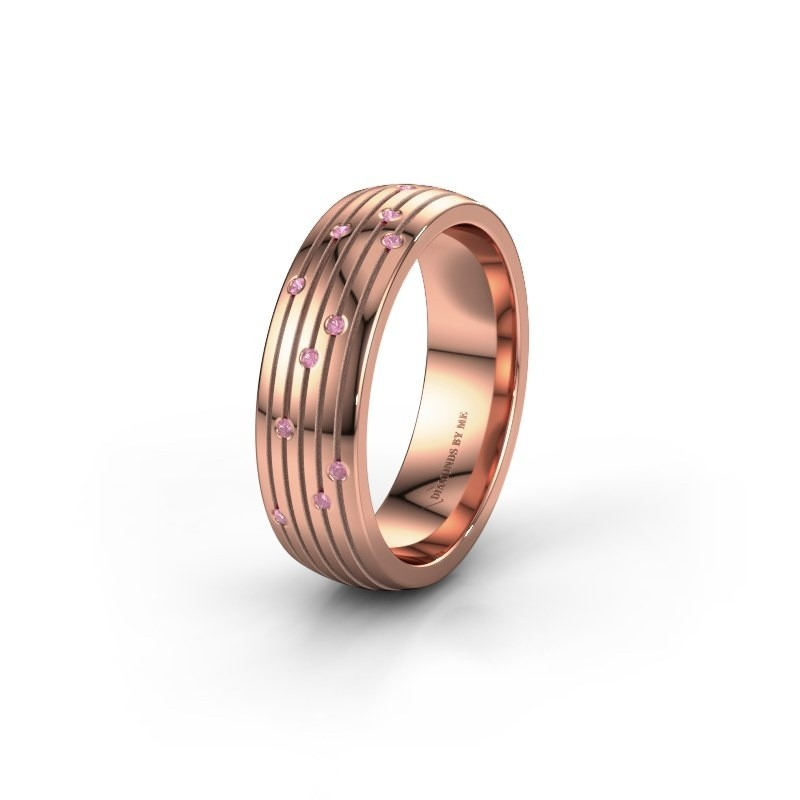 Wedding ring WH0150L26A 585 rose gold pink sapphire ±6x1.7 mm