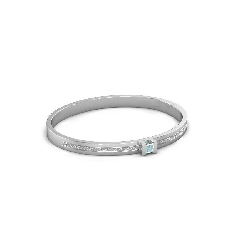 Armband Desire 585 witgoud aquamarijn 4 mm