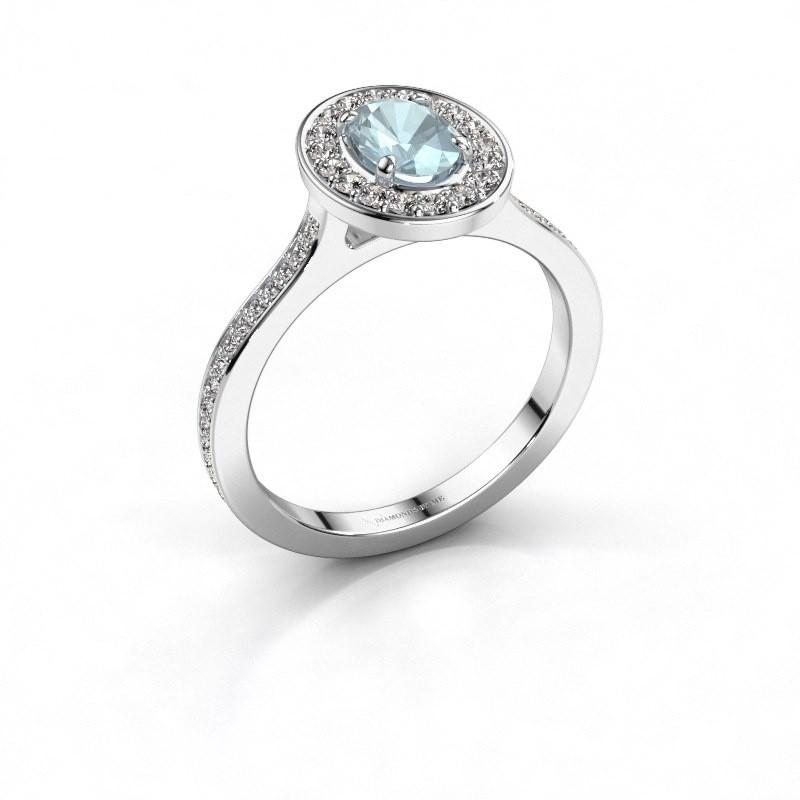 Ring Madelon 2 950 platina aquamarijn 7x5 mm