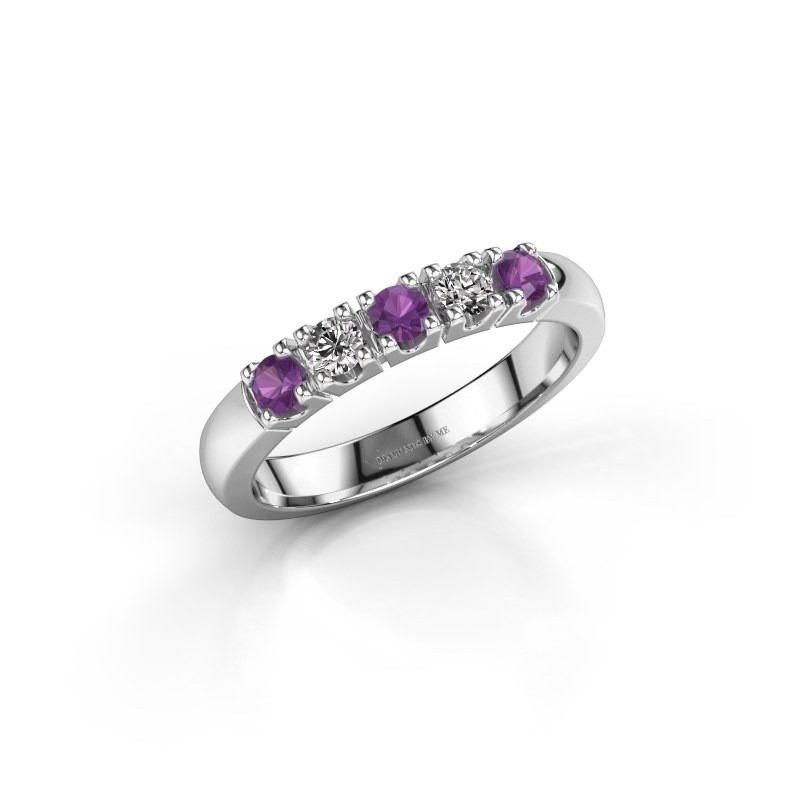 Engagement ring Rianne 5 585 white gold amethyst 2.7 mm